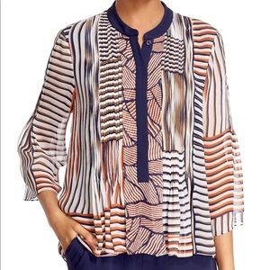DVF | Kimberlee Printed Pleated Blouse L